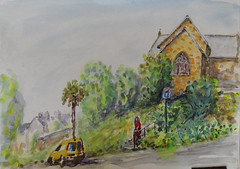 Inzinzac (christian angué) Tags: voiture jaune eglise morbihan bretagne croquis aquarelle architecture village pierres vegetation