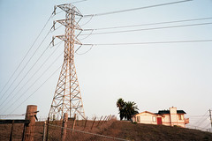 (patrickjoust) Tags: fujica gw690 kodak portra 160 6x9 medium format 120 rangefinder 90mm f35 fujinon lens manual focus analog mechanical patrick joust patrickjoust american southwest united states north america estados unidos rural morro bay california house home electrical tower wires fence field