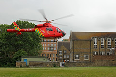 London's Air Ambulance in Acton (kertappa) Tags: img1504 air ambulance londons london hems doctor paramedics hospital glndn emergency helicopter kertappa acton berrymede junior school
