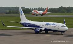 Blue Air B737 ~ YR-BMO (© Freddie) Tags: luton bedfordshire lutonairport ltn eggw ltneggw airbus boeing b737 b738 blueair yrbmo fjroll ©freddie