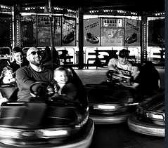 The dodgems at Forfar 2019 (ronramstew) Tags: carnival fair fairground forfar angus scotland bw blackandwhite 2019 2010s dodgems cars