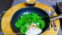 Steamed egg and wilted spinach leaves (garydlum) Tags: coffee egg eggs poachedegg spinach spinachleaves canberra australiancapitalterritory australia
