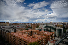Valencia From Above (Adrian Court LRPS) Tags: aeroplane aircraft architecture blue buildings city clouds road sky spain valencia valenciaprovince