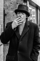 Nigel having a cig (Sue_Hutton) Tags: loughborough march2016 nigel spring character hat smoking streetphotography