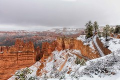 It's Winter Again at Bryce (KPortin) Tags: brycecanyonnationalpark snow fence sunsetoverlook