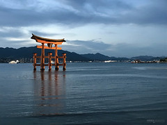 Itsukushima Floating Torii Gate - Miyajima Island (Japan) (Andrea Moscato) Tags: andreamoscato giappone japan asia japanese 日本 nihon nippon asian light luce shadow ombre prefecture attraction ombra site national nature natura natural naturale landscape paesaggio white sky cielo view vivid vista scenic blue parco park history historic ancient treasure wood art architecture monument brilliant water silhouette sea seascape seashore torii gate bay hiroshima unesco world heritage island isola seto inland setonaikai riflesso reflection tide orange mountain hill nuvole clouds deep evening blu wave
