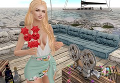 Next to the puddle (Rose Sternberg) Tags: sea liz shape for genus bento project baby face head maitreya lara body second life event may 2019 salon52 salon 52bento pose fair safira mirela dress gift runaway hair peach secret poses watermelon
