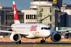 HB-JCC Swiss Airbus A220-300 (CSeries CS300) (buchroeder.paul) Tags: eddl dus dusseldorf international airport germany europe ground dusk hbjcc swiss airbus a220300 cseries cs300