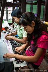 Ladies at the Looms : Mandalay 2694 (Ursula in Aus) Tags: burma karlgroblphototour mandalay myanmar loom weavers weaving