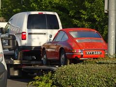 1968 (stevenbrandist) Tags: porsche car classic birstall 912 leicester orange ibis hotel carpark 1968 xyy348f vw volkswagen caddy van trailer transport