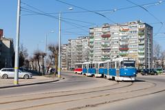 Blau-weißer Gruß aus Schwerin (trainspotter64) Tags: strasenbahn streetcar tram tramway tranvia tramvaj tramwaje satiksme lettland daugavpils čkd tatra t3d