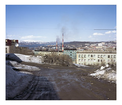 Murmansk, 2017 (urban.photo.lv) Tags: russia murmansk may snow dirt road soviet buildings residential suburbs industrial port landscape polar day analog fuji gw 670 ii film 6x7 kodak portra 400