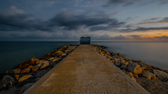 Take me back. . . (omeiscl) Tags: jamaica south coast beach ocean pier longexposure chair sunset water sea