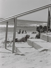 Beach 1 (adam_h_photo) Tags: halfframe olympuspenft monochrome film filmphotography 35mm analogue analog photofilmy ishootfilm istillshootfilm blackandwhite beach