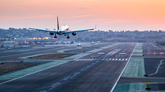 On short final for SD' runway, San Diego, USA (papa_johns_95) Tags: runway airport plane sunset sunrise sandiego