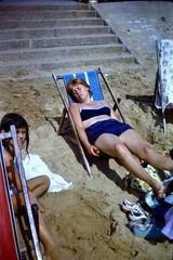 511_DebHilaryAug1972 (wrightfamilyarchive) Tags: debbie hilary wright holiday beach august 1972 1970s 70s seventies sunbathing sand sandy deckchair steps south coast uk holidaymaker