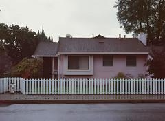 Sunnyvale, California (bior) Tags: pentax645nii pentax645 6x45cm ektachrome e200 kodakektachrome slidefilm mediumformat 120 sunnyvale street fence rain suburbs whitepicketfence house