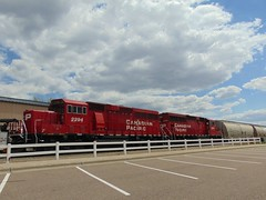 Bright Red CP (novice09) Tags: train cp canadianpacific railroad locomotive hastings clouds ipiccy