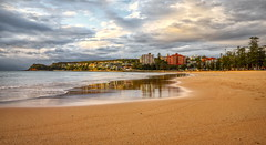 Morning glow (geemuses) Tags: manly manlybeach extendedexposure glow reflection sea water pipe sign ocean waves sky clouds northernbeaches nsw newsouthwales landscape colour color sand rock canon camera nationalgeographic australia contrast light beautifullight