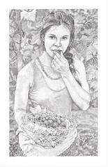 Grapes (JDH Artworks) Tags: stippling blackandwhite dots penandink portrait grapes vineyard realism figuredrawing prettygirl copic copicmultiliner phoenixaz