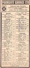 1972 ADVERT - PARKGATE GARAGE LTD BRITISH LEYLAND DEALERS HOLBROOK LANE COVENTRY (Midlands Vehicle Photographer.) Tags: 1972 advert parkgate garage ltd british leyland dealers holbrook lane coventry