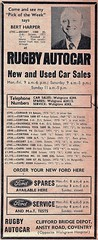 1972 ADVERT - RUGBY AUTOCAR FORD DEALERS ANSTY ROAD COVENTRY (Midlands Vehicle Photographer.) Tags: 1972 advert rugby autocar ford dealers ansty road coventry