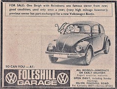 1972 ADVERT - FOLESHILL GARAGE VOLKSWAGEN DEALERS FOLESHILL ROAD COVENTRY (Midlands Vehicle Photographer.) Tags: 1972 advert foleshill garage volkswagen dealers road coventry