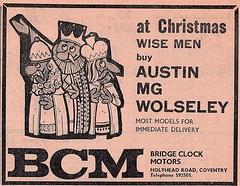 1972 ADVERT - BRIDGE CLOCK MOTORS AUSTIN / MG / WOLSELEY DEALERS HOLYHEAD ROAD COVENTRY (Midlands Vehicle Photographer.) Tags: 1972 advert bridge clock motors austin mg wolseley dealers holyhead road coventry