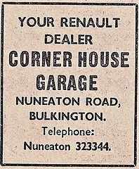 1972 ADVERT - CORNER HOUSE GARAGE RENAULT DEALERS NUNEATON ROAD BULKINGTON (Midlands Vehicle Photographer.) Tags: 1972 advert corner house garage renault dealers nuneaton road bulkington