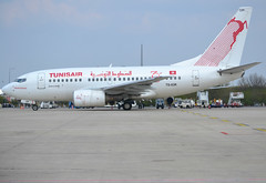 "TS-IOR, Boeing 737-6H3, 29502 / 816, Tunisair, ""Tahar Haddad"", 70 years commemorative markings, CDG/LFPG, 2019-04-14, Quebec ramp at Terminal T3. (alaindurandpatrick) Tags: tu tunisair tunair airlines airliners jetliners 737 736 737600 boeing737600 boeing737 cdg lfpg parisroissycdg airports aviationphotography tsior 29502816"