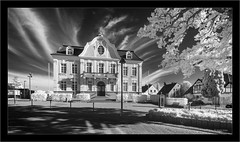 Rathaus Reinfeld (Dierk Topp) Tags: a7r bw ilce7r ir sonya7rir architecture clouds infrared monochrom moon rathaus reinfeld sw sony
