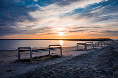 Have a seat.. (wardkeijzer_107) Tags: sunset beach composition south holland sea shore sand colorful brouwersdam ouddorp shades