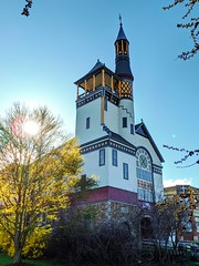 church (ekelly80) Tags: massachusetts marlborough april2019 spring newengland church firstbaptistchurch colors light sunset evening tree glow steeple architecture