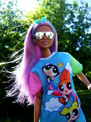 Power girl (Nickolas Hananniah) Tags: barbie doll barbiedoll fashiondoll fashion power puff girl girls park model hair purplehair purple madetomovebarbie mermaid cool hipster spring may wind garden sunny sunglasses shades glasses toy кукла