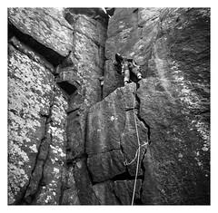 FILM - Part way up (fishyfish_arcade) Tags: 6x6 analogphotography curbaredge fp4 filmphotography filmisnotdead foldingcamera istillshootfilm peakdistrict zeissmessikonta52416 analogcamera film ilford mediumformat rockclimbing climbing