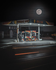 Blue Moon (Derock.) Tags: blue moon bluemoon night photography long exposure gas station philadelphia philly lighttrails canon rebel t5
