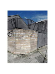 security (chrisinplymouth) Tags: wall corner security fence stonehouse plymouth devon england uk city cw69x xg desx diagx urb diagonal