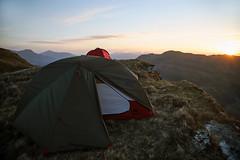 Sunrise Pitch (Russell-Davies) Tags: uk scotland highlands luss lochlomond hills mountains landscape tullichhill munro crianlarich camping wildcamp msrtents msr tent sunrise canon 6dmkii hiking clouds