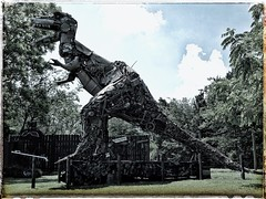 The Beast - Junkosaurus Wrecks | The Barnyard  | Fischer Crossroads | Fort Payne, Alabama | View 1 (steveartist) Tags: sculpture folkartsculpture trex junkosauruswrecks mikegoggans sonydscwx220 snapseed photostevefrenkel snapseedfilters monumentalsculpture fortpayneal fischercrossroads