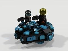 Millennium Falcon SE: Tron Remix (CJ Blukacz) Tags: lego microfighters starwars millenniumfalconspecialedition hansolo chewbacca tron