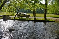 Cataloochee Jeep_II (NC Mountain Man) Tags: cataloocheevalley nikon d3400 phixe ncmountainman jeep xj 1993 cherokee creek stream brook water rocks bridge trees field grass road dirtroad lowresolutionversion
