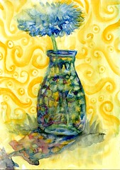 Copper-bottom (Life Imitates Doodles) Tags: flowers vase watercolor