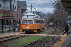Westbound at Milton stop. (blair.kooistra) Tags: bos boston mbta pcc pcccar publictransportation trolley