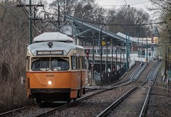Westbound, Cedar Grove station;  Ashmont in the background. (blair.kooistra) Tags: bos boston mbta pcc pcccar publictransportation trolley
