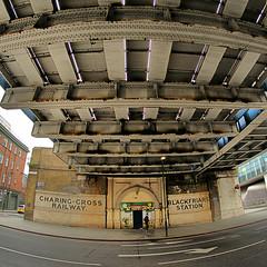 Ancient Station (Croydon Clicker) Tags: station disused bridge fisheye blackfriars sign lebanesegrill runner jogger london