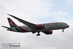 LHR_Kenya Airways Dreamliner copy (Finn Sprakes) Tags: canon canon1100d runway travel avgeek aviation airport aviationphotography lhr touchdown heathrow londonheathrow egll 27l ba myrtle london 747 747400 british airways