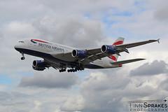 FNS_LHR_August 2018_British Airways_A380 copy (Finn Sprakes) Tags: canon canon1100d runway travel avgeek aviation airport aviationphotography lhr touchdown heathrow londonheathrow egll 27l ba myrtle london 747 747400 british airways