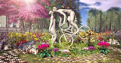 A relationship on wheels (Rose Sternberg) Tags: second life deco decor home garden tm creation kiss me again scene anims boardwalk event guitar floral the spring rocks flowers swank bicycle bike