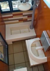 Orange Beach House MOC. Bathroom. (betweenbrickwalls) Tags: legos bathroom bathroominterior bathroomdesign tiles interiordecorating toys house home