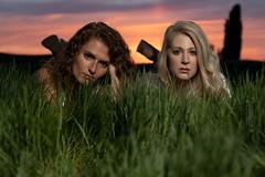 Janelle and Maygen (austinspace) Tags: woman portrait women couple duo best friends sunset dusk magichour farm blond blonde redhead backroad